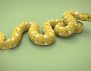 65521436 - 3d illustration of yellow snake. green background isolated. icon for game web. poisoned animal.