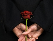 Woman Holding Red Rose Behind Back --- Image by © Bob Thomas/Corbis