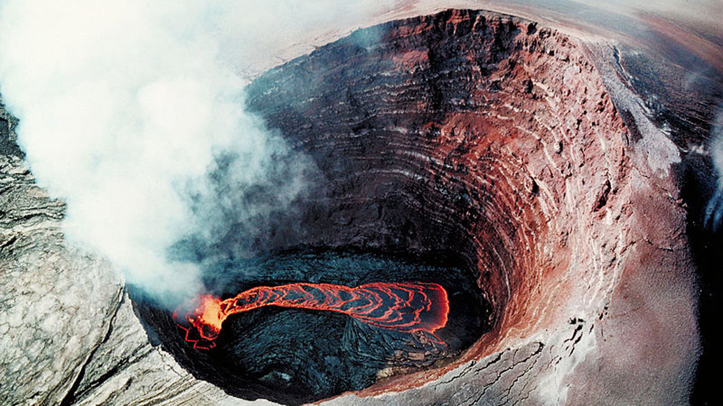 Aerial view of the lava lake in Puʻu ʻŌʻō, a cinder cone on Kīlauea