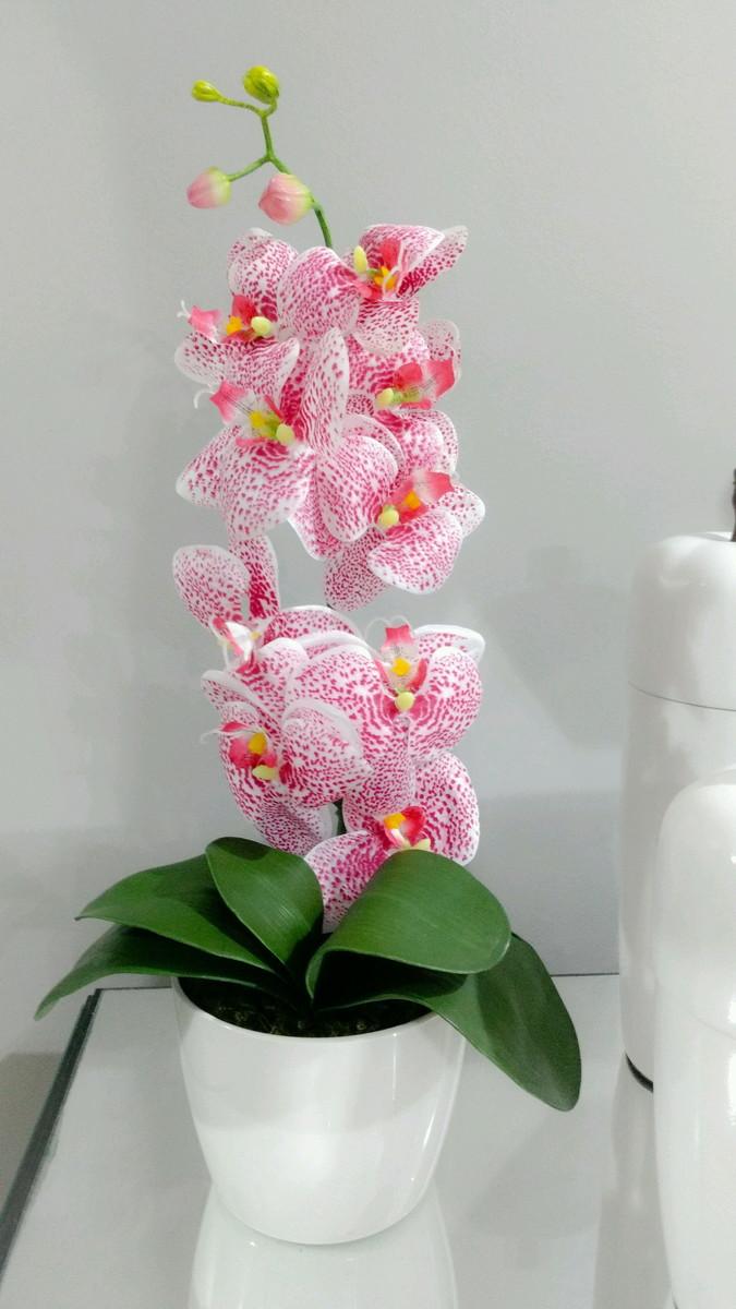 Orquídea Rosa no Vaso Branco