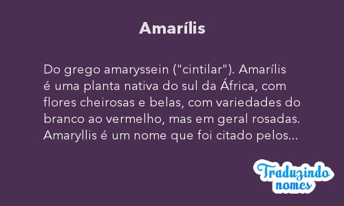 Significado do Nome Amarilis