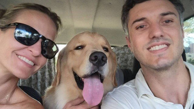 Golden Retriever Com os Donos no Carro