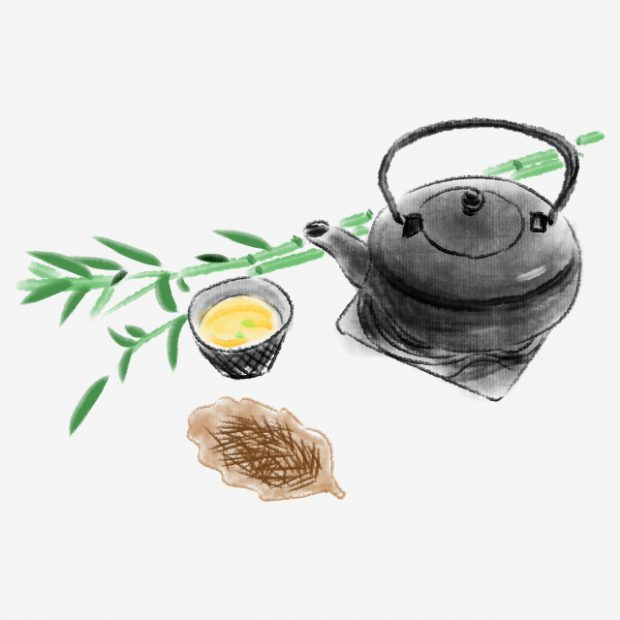 Chá Usando Folha de Bambu